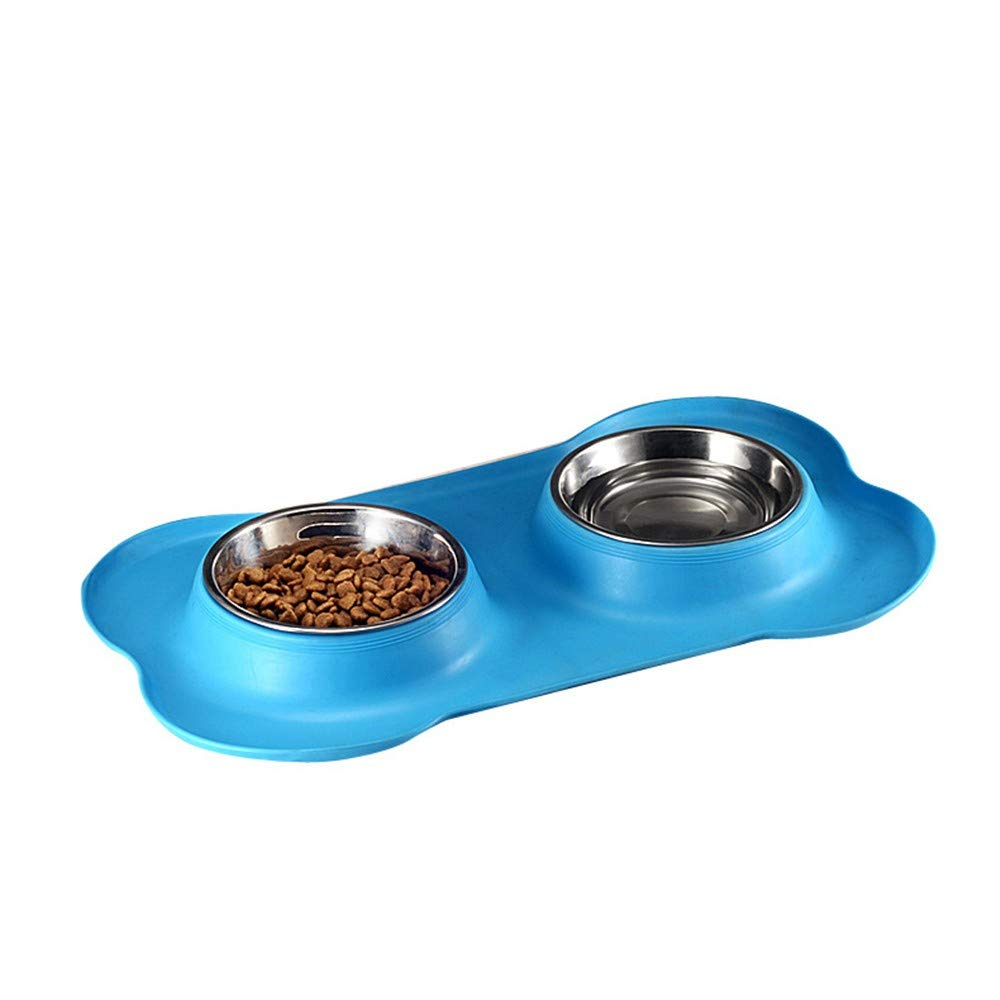 PeachBlossomSource New Bone Type Pet Silica Gel Bowl Stainless Steel Pet Double Bowl Dog Bowl The Dog Bowl Pet Food Bowl Tableware,Sky bluee,M