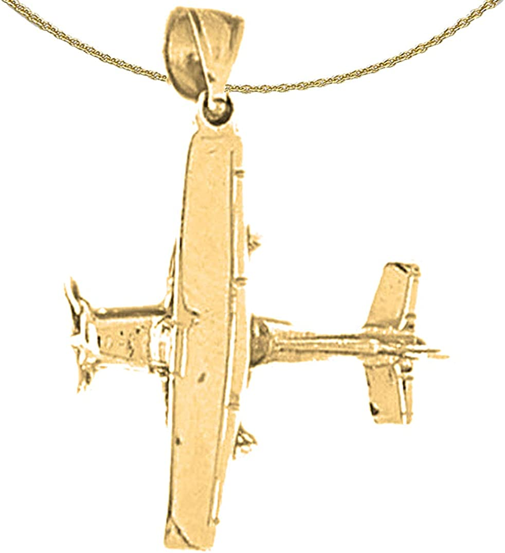 Rhodium-plated 925 Silver Airplane Pendant with 18 Necklace Jewels Obsession Silver Airplane Necklace