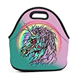 Zombies Unicorn Horse Rainbow Insulated Thermal Cooler Lunch Bag Box Tote Neoprene Lunch Tote Outdoor Travel Picnic Lunchbox Handbags for Womens Boys Girls Mens