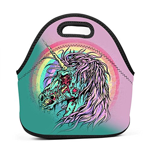 Zombies Unicorn Horse Rainbow Insulated Thermal Cooler Lunch Bag Box Tote Neoprene Lunch Tote Outdoor Travel Picnic Lunchbox Handbags for Womens Boys Girls Mens by CuGuGo