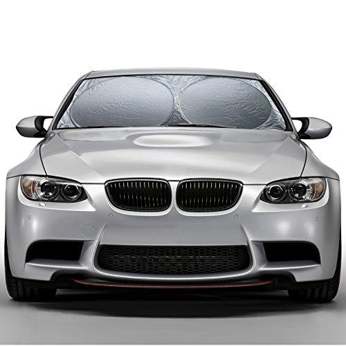 OxGord Windshield Sunshade Protects UV Rays - Auto Window Screen Visor Heat Blocker - Universal Fit Sun Shade for Car, Truck, SUV, Van (Round) (Best Cars For Arizona Heat)