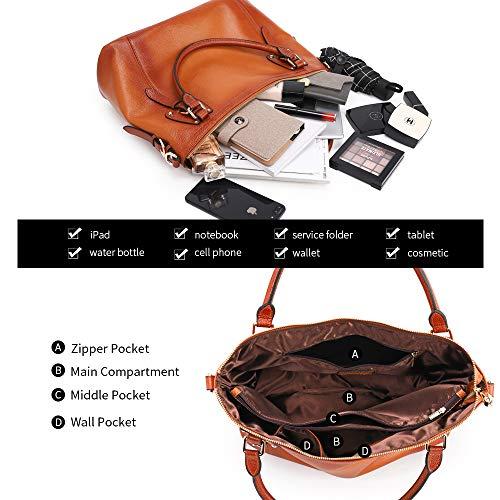 Kattee Women's Genuine Leather Handbags Shoulder Tote Organizer Top Handles Crossbody Bag Satchel Designer Purse 6