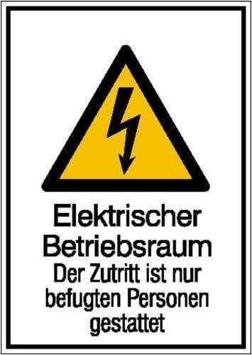2101 selbstklebend Warn-Kombischild Elektrischer Betriebsraum Weich-PVC-Folie bedruckt Gr/ö/ße 13,10 cm x 18,50 cm