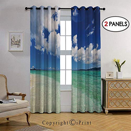 RWNFA Life Wavy Vivid Open Sunny Sea Shore Sand Beach Art Printed Blackout Curtains-36x96-Inch,Set of 2 Panels,Grommet Top,Room Darkening,Bue Teal Cream White
