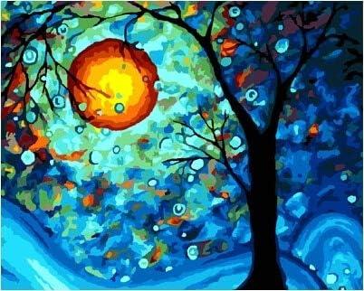 yaonuli Pintura de Lienzo Digital Pintada a Mano Pintura al óleo Digital de Bricolaje * Resumen Noche luz de Luna 40x50cm Sin Marco