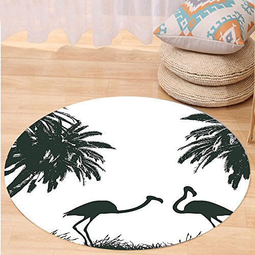 VROSELV Custom carpetNature Flamingo Birds and Palm Trees in Miami Exotic Tropical Artwork for Bedroom Living Room Dorm Baby Blue Baby Pink and Black Round 24 inches (Rattan Furniture Miami Repair)