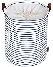 DOKEHOM 22-Inches Freestanding Laundry Basket with Lid, Collapsible Extra Large Drawstring Clothes Hamper Storage with Handle (Blue Stripe, XL)