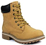 Jjf Shoes Broadway Camel Military Combat Lace Up Faux Wool Fur Lined High Top Ankle Boots-7.5   amazon.com