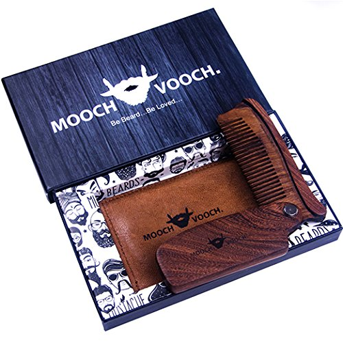 Folding Beard & Mustache Comb With Pure Leather Pouch Anti Static & Vintage Style Natural Chacate Preto Wood Unique Shaping & Styling Tool For Breads A Premium Giftbox By Mooch Vooch (Brown)
