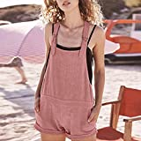Ltrotted Women Casual Solid Adjustable Cotton Pockets Rompers Playsuit,Shorts Pants (S, Pink)