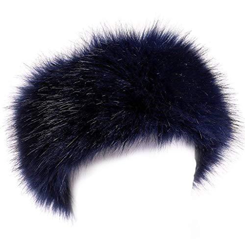 FAITH YN Faux Fur Headband with Elastic Stretch Women Fur Hat Winter Ear Warmer Earmuff Ski Cold Weather Caps [Navy]