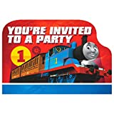 "amscan Thomas The Tank Engine Birthday Party Die-Cut Postcard Invitations, Paper, 3"" X 5"", Pack of 8 Party Supplies"