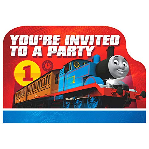 amscan Thomas The Tank Engine Birthday Party Die-Cut Postcard Invitations, Paper, 3