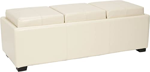 Safavieh Hudson Collection Gramercy Cream Leather Triple Tray Ottoman