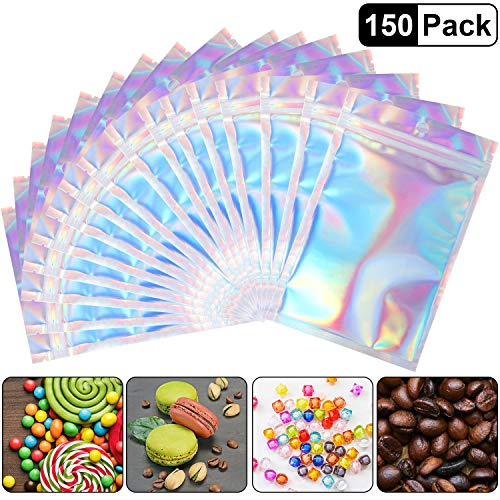 150 Pieces Resealable Smell Proof Bags Foil Mylar Ziplock Bags Aluminum Foil Bags Flat Metallic Mylar Foil Flat Food Storage Bags Pouch