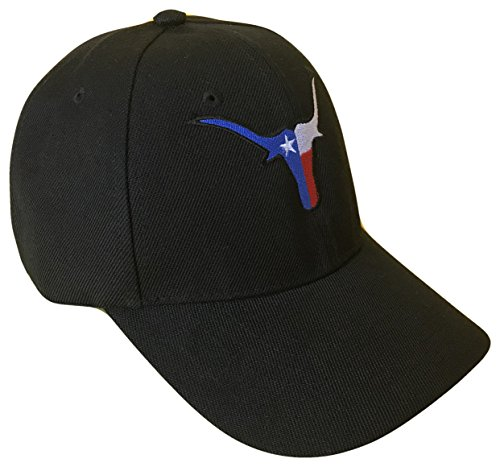 (Longhorns Texas State Flag Baseball Cap (One Size, Black))