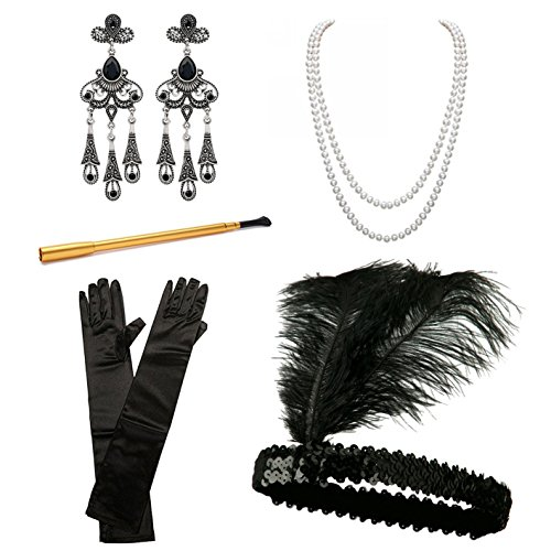1920s Accessories Set Flapper Costume for Women iLoveCos Roaring 20's Accessories Headband Earings Pearls Necklace Gloves Cigarette