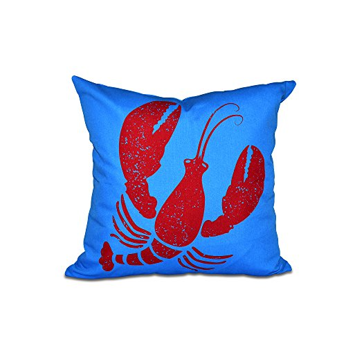 E by design PAN404BL21RE1-16 16'' x 16'' Lobster Blue Animal Print Pillow by E by design