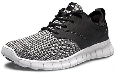 TSLA Men's Boost Running Walking Sneakers Performance Shoes, Lightweight Flex(x574) - Black, 10.5