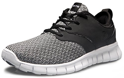 TSLA Men's Lightweight Sports Running Shoes, Flex Groove(x574) - Light Grey, 10.5,