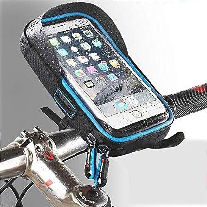 YAJAN-BicycleBag Bolsa Bicicleta,Soporte para teléfono Montura de navegación GPS Soporte para parasoles Pantalla táctil Resistente al Agua, 6 Pulgadas