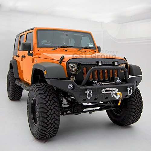 (GSI Full Width Front Bumper With Fog Lights Hole and Winch Plate-Textured Black for 07-18 Jeep Wrangler JK)