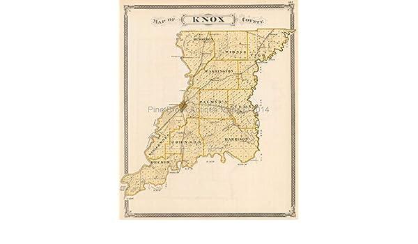 Knox Sullivan County Indiana Antique Map Baskin 1876 Original