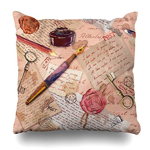 Ahawoso Decorative Throw Pillow Cover Queen 20x30 Watercolor Book Vintage Aged Hand Written Sketch Notes Accessories Education Color Colour Key Drawing Zippered Pillowcase Home Decor Cushion Case (Queen Pencil Bed Post)