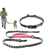 Hands Free Dog Leash for Running, Walking, Hiking, Cycling and Training | Bungee Harness with Adjustable Waist Belt, Padded Handle and Reflective Stitching | for Large Dogs