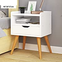 Drawer tall nightstand Simple modern Assembly European style Wooden foot bedside cabinet Mini bucket cabinet Cabinets-B 40x30x57cm(16x12x22inch)