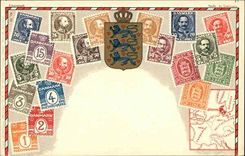 Denmark Postcard - Danish Stamps Stamp Postcards Denmark Original Vintage Postcard