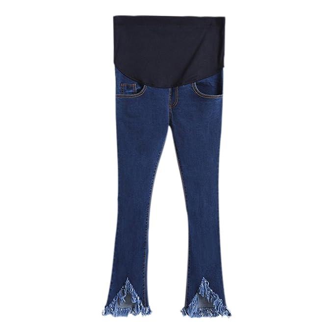 Hzjundasi Nuevo Mujer El embarazo Maternidad Tassel Jeans Sobre el bache Elástico Pantalones pitillo