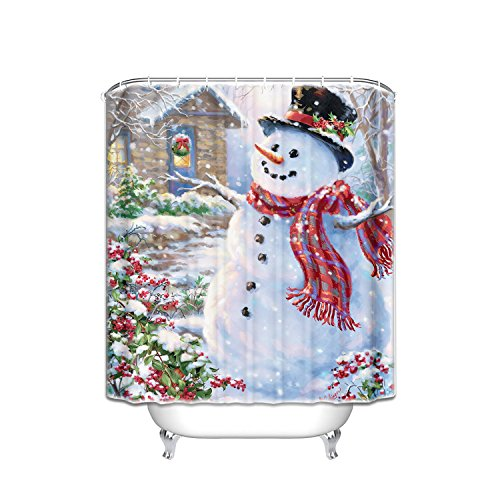 r Holiday Merry Christmas Happy Snowman and Cardinals Shower Curtain New Waterproof Polyester Fabric Bath Curtain (Shower Rings Included) ()