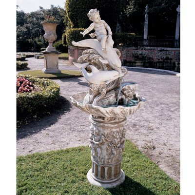 Design Toscano Resin Young Poseidon Sculptural Fountain