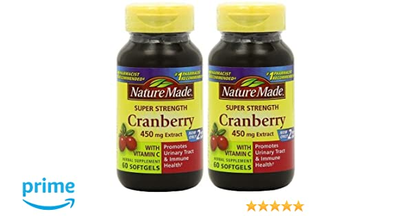 Amazon.com: Nature Made Super Strength, Cranberry (450 Mg Extract) with Vitamin C, 60 Softgels 2 PACK: Health & Personal Care