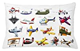Lunarable Boy's Room Throw Pillow Cushion Cover, Digital Representation of Aero Vehicles Aircrafts Commercial Planes Pattern, Decorative Square Accent Pillow Case, 26 X 16 inches, Multicolor