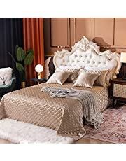 Emporiah Jacquard Satin Silk Quilt Bedspread Coverlet Set, Five Pieces, Geometric Pattern Quilted Bedspread, Champagne Gold