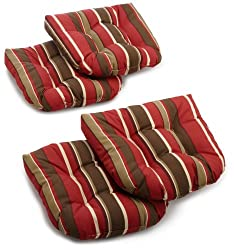 Blazing Needles Indooroutdoor Spun Poly 19-inch By 19-inch By 5-inch All Weather Uv Resistant U-shaped Cushions, Montserrat Sangria, Set Of 4