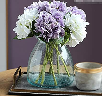 Amazon.com Situmi Artificial Fake Flowers Blue Glass Flowers In Vases Decorated Purple Hydrangea Home Accessories Home \u0026 Kitchen & Amazon.com: Situmi Artificial Fake Flowers Blue Glass Flowers In ...
