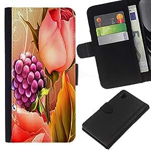 Planetar® Modelo colorido cuero carpeta tirón caso cubierta piel Holster Funda protección Para Sony Xperia Z1 L39 ( Raspberry Rose Pintura floral de la primavera )