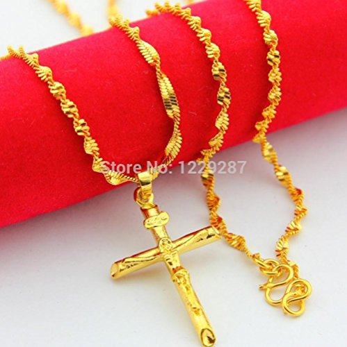Kiss Love Fashion Gold Necklace For Women Sales !!,Christmas Gifts 24K Real Gold Cross Necklace Fashion Necklaces ()