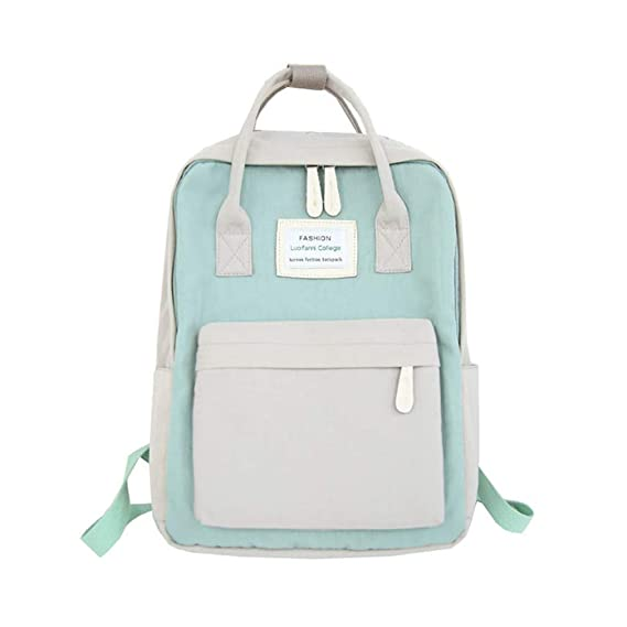 Amazon.com | Women Backpacks Candy Color Waterproof School Bags Teenagers Big Laptop Backpack Patchwork Backpack gray-p 28cm 12cm 36cm | Backpacks