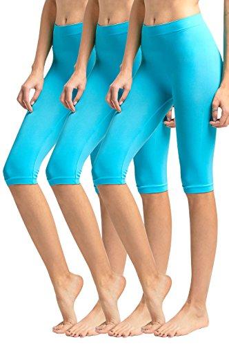 MOPAS Women's Ribbed Waistband Knee Length Plain Leggings (Pack of 3) - Aqua,One Size