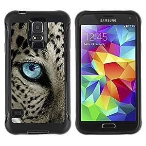 """único patrón Impacto Shock-Absorción y Anti-Arañazos Funda Carcasa Case Bumper Para Samsung Galaxy S5 V , ( Ocelot Azul Negro manchas azules del ojo de gato"""" )"""