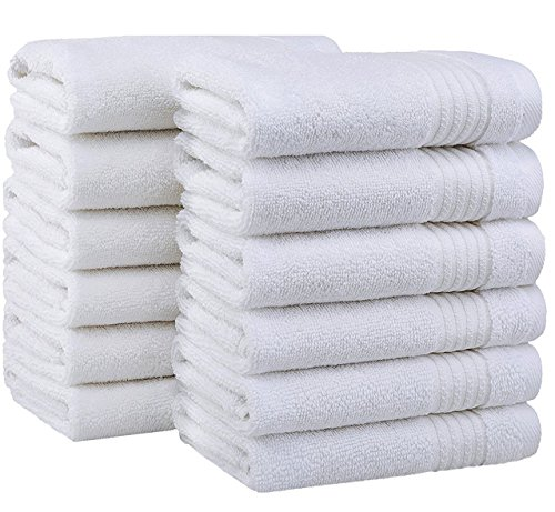 2018 (New Collection) Luxurious Soft Hotel & Spa Quality 12''x12'' Washcloth Set of 12 100% Cotton and Eco-Friendly (Snow White Washcloths for Bath)