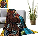 cleveland browns robot - homehot Western Reversible Blanket Steampunk Robots Western Style Cowboy Kisses The Girl Illustration Print Anti-Static Throw 40