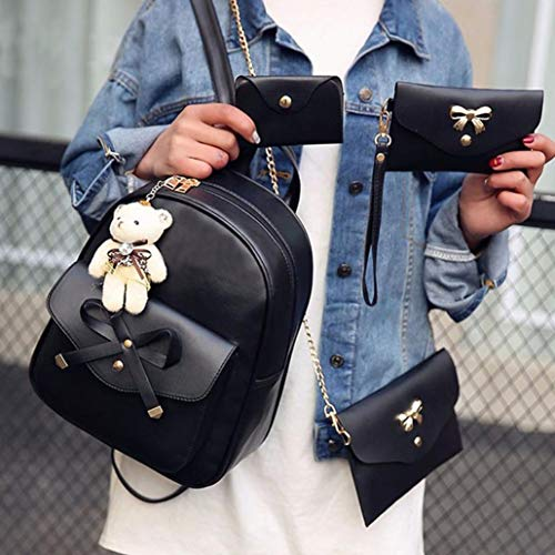 Tote Bags Backpack Crossbody Shoulder 4PCs Alixyz Women Handbag Bags Black Bag qSxYgYwB0