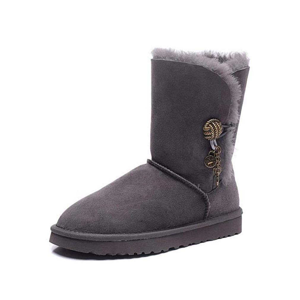 Hy Damen Schneestiefel, Winter Plus Kaschmir Warm Windproof Stiefelies, Damen Flache Slip-Ons Fashion Stiefel Outdoor-Skifahren Schuhe Größe  35-40 (Farbe   Grau, Größe   36)