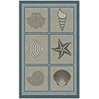 Brumlow Mills EW10064-30x46 Muted Beach Squares Seashell Area Rug, 26 x 310