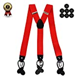 the red button - Men's Y Back Suspenders with Strong Clips&Leather Joint& Button End Strap& Heavy Duty (Red)